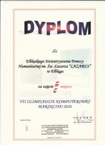 Dyplom dla zespołu na Olimpiadzie Informatycznej w Marzęcinie